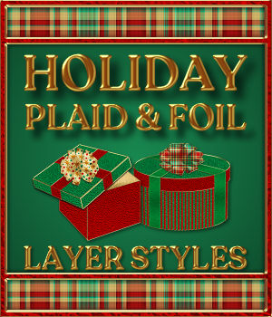 Holiday Plaid and Foil PS Layer Styles 2D Graphics Merchant Resources fractalartist01