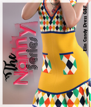 The Nanny Series: Elin Candy Dress G8F 3D Figure Assets alexaana