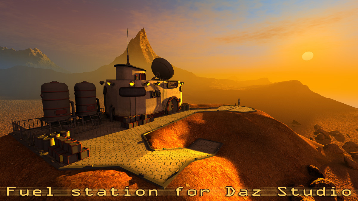 Fuel station for Daz Studio by 1971s