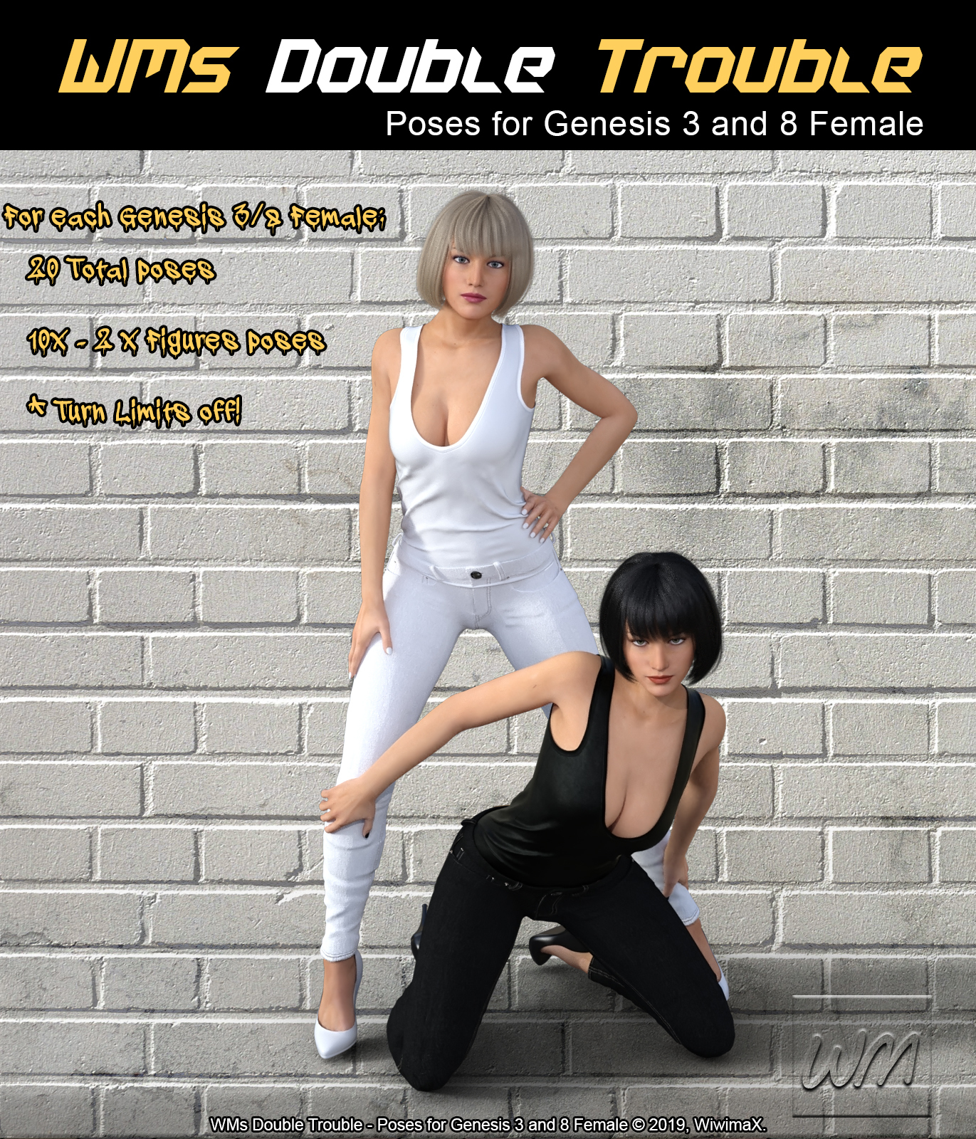 WMs Double Trouble - Poses for Genesis 3 and 8 Female by WiwimaX