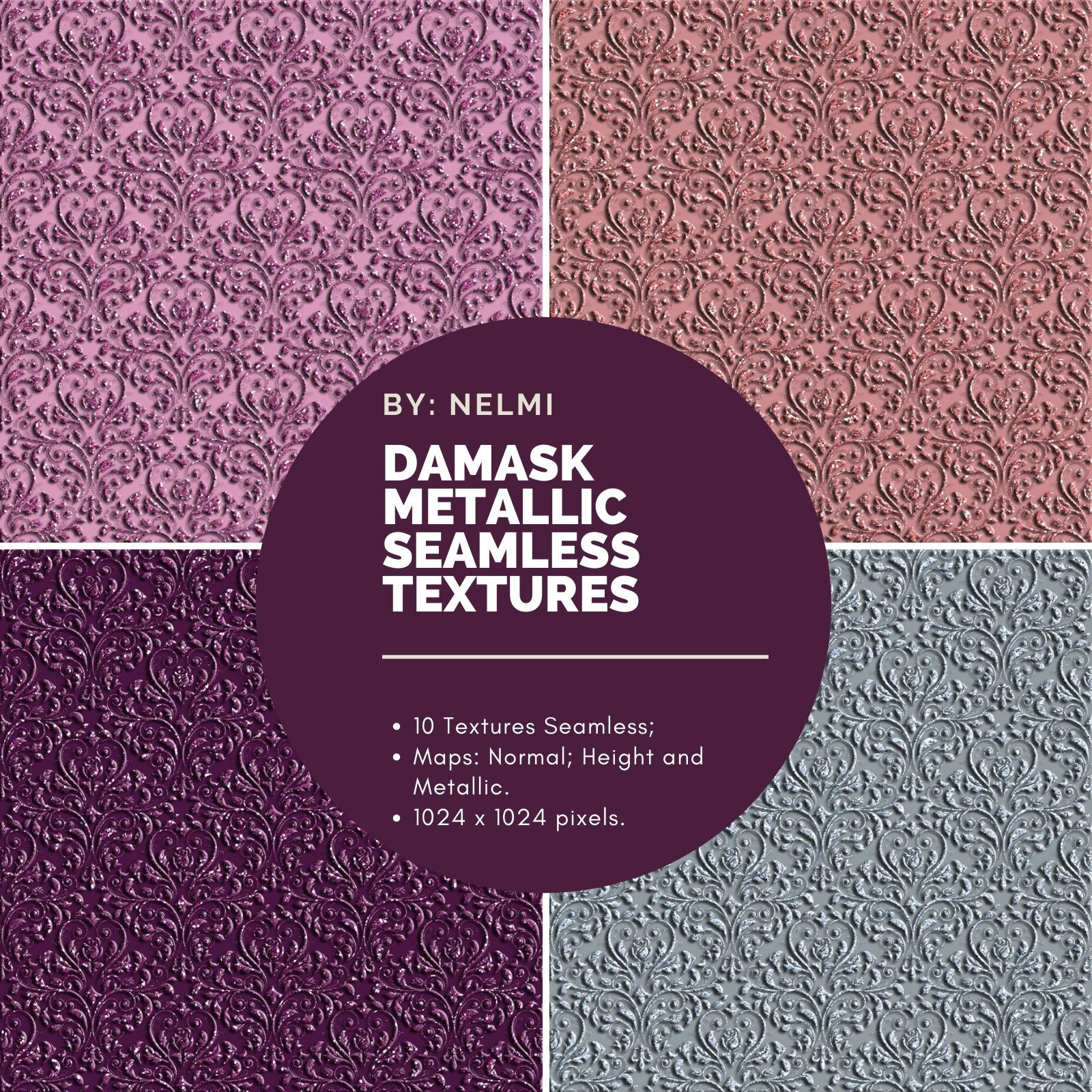 10 Damask Metallic Seamless Textures by nelmi