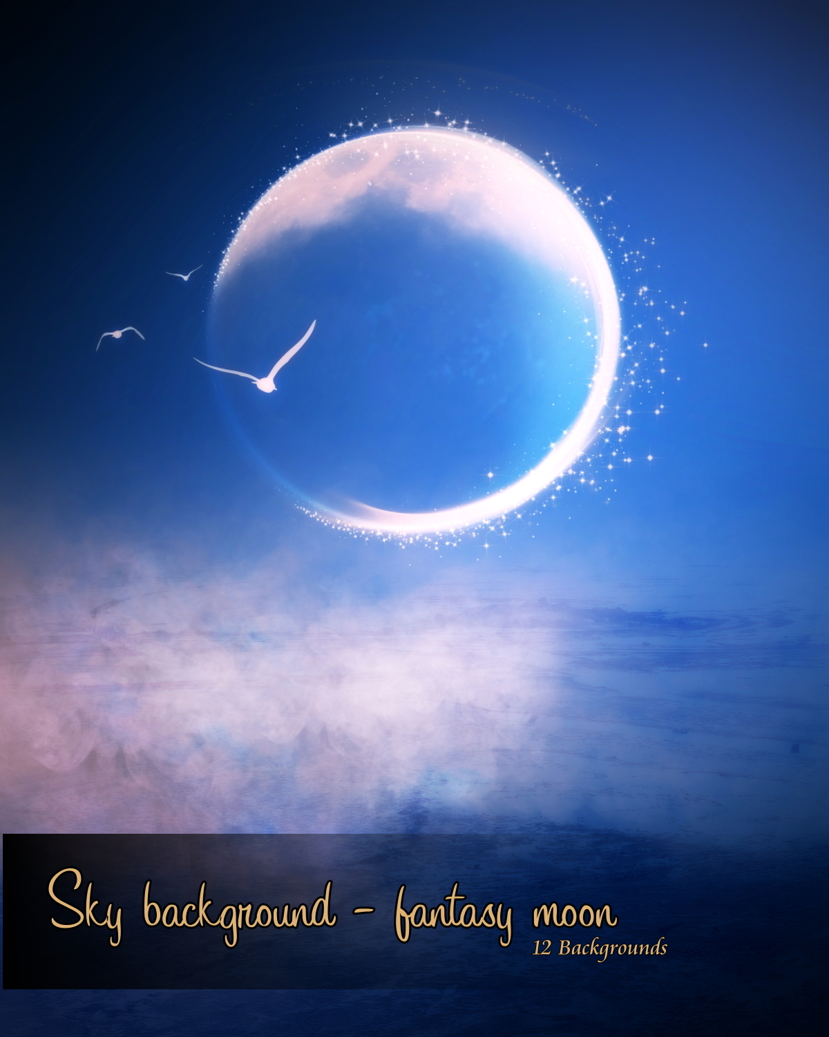Sky background - fantasy moon by hexe2009