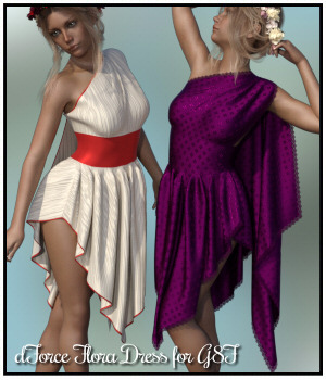 dForce - Flora Dress for G8F 3D Figure Assets Lully