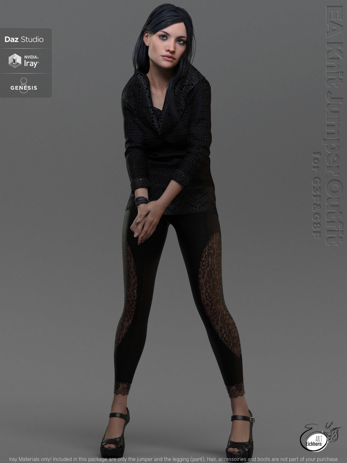 EA dforce Knit Jumper Outfit for Genesis 8 Female  by EichhornArt