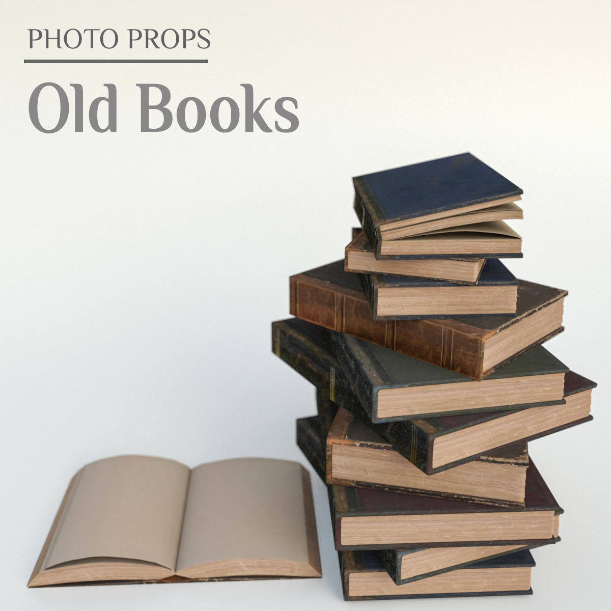 Photo Props: Old Books - Extended License by ShaaraMuse3D