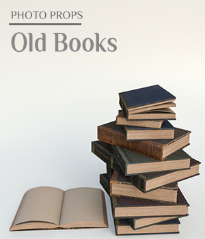 Photo Props: Old Books - Extended License 3D Models Extended Licenses ShaaraMuse3D