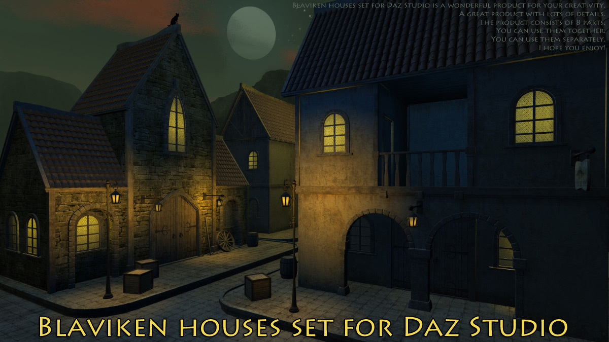 Blaviken houses set for Daz Studio by 1971s