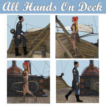 ALL HANDS ON DECK Poses for Merchant Airship DS and Genesis 8 Figures - G8F G8M  image 4