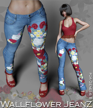 Wallflower JeanZ for Genesis 8 3D Figure Assets Rhiannon