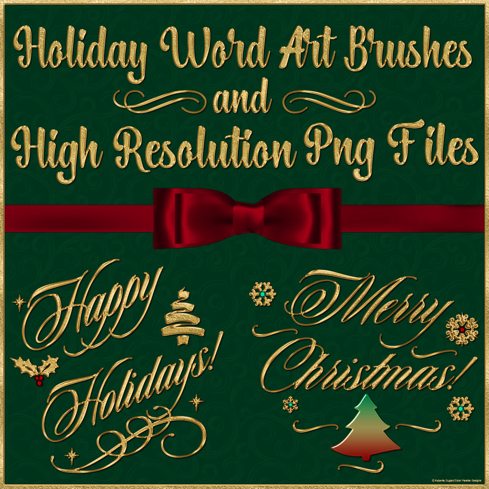 Holiday Word Art PS Brushes and Png Files Pack by fractalartist01