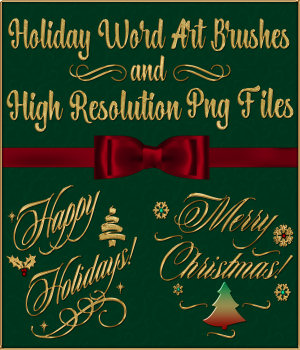 Holiday Word Art PS Brushes and Png Files Pack