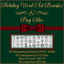 Holiday Word Art PS Brushes and Png Files Pack image 4