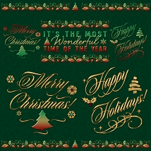 Holiday Word Art PS Brushes and Png Files Pack image 5