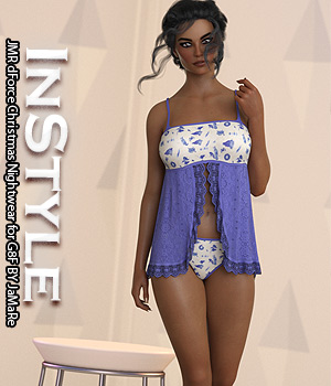 InStyle - JMR dForce Christmas Nightwear for G8F 3D Figure Assets -Valkyrie-