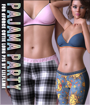 Pajama Party for dForce Cutie Long PJs 3D Figure Assets Sveva