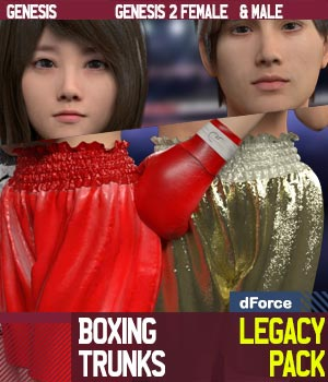 Boxing Trunks LegacyPack for Genesis and Genesis 2 Female and Male 3D Figure Assets gravureboxing