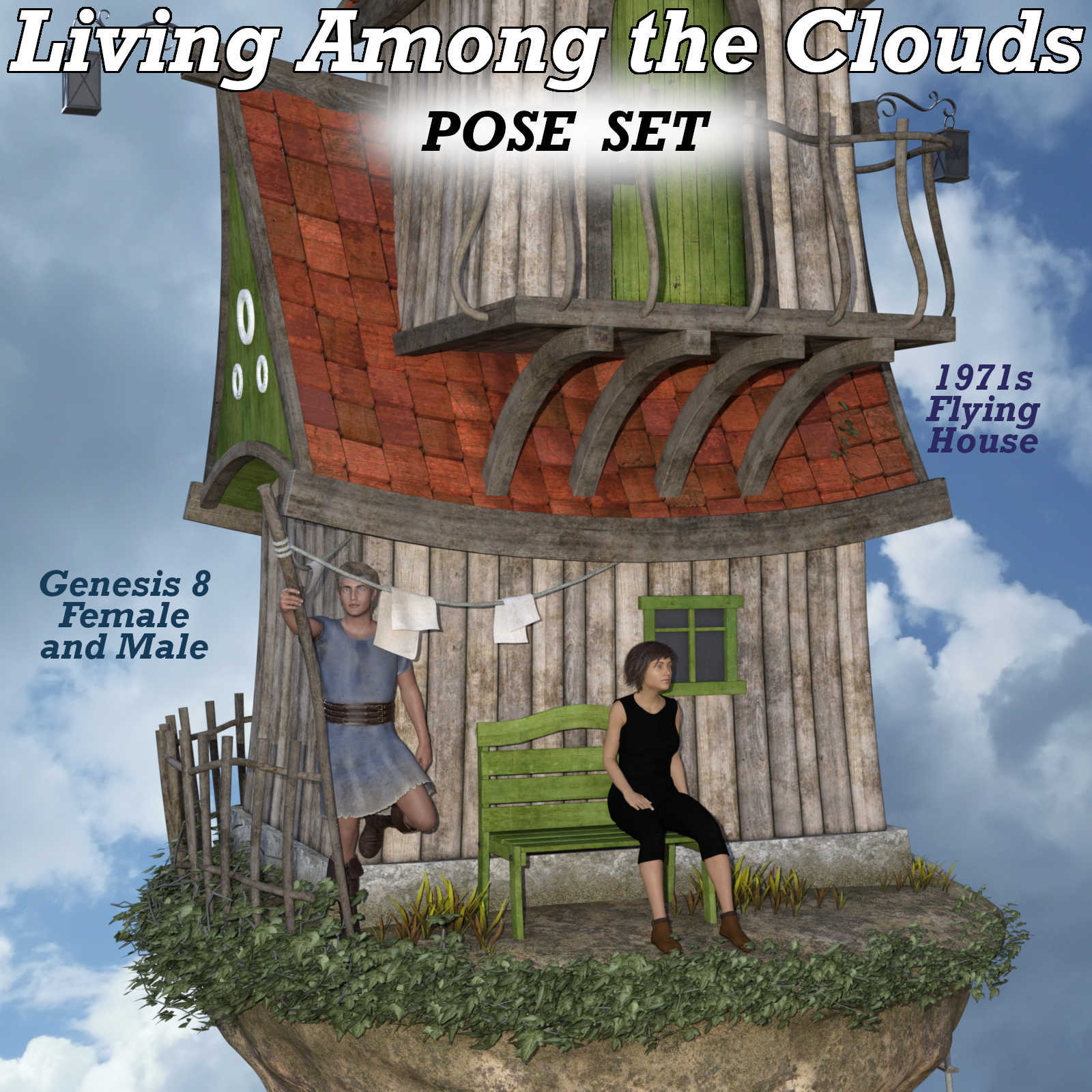 LIVING AMONG THE CLOUDS Poses for Flying House DS andGenesis 8 Figures  by Winterbrose