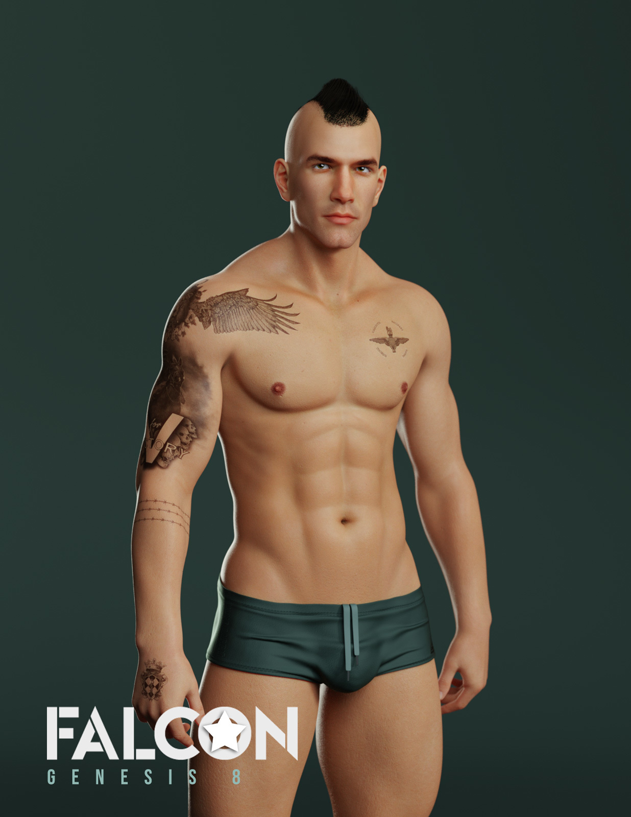 Falcon Character and Hair for Genesis 8 Male by sithlordsims