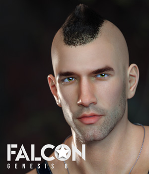 Falcon Character and Hair for Genesis 8 Male 3D Figure Assets sithlordsims