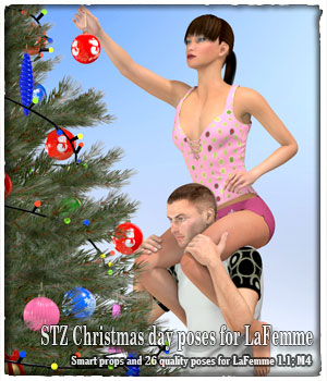 STZ Christmas day poses for LaFemme 3D Figure Assets La Femme Pro - Female Poser Figure santuziy78