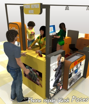 The Mall Phone repair Kiosk poses 3D Figure Assets greenpots