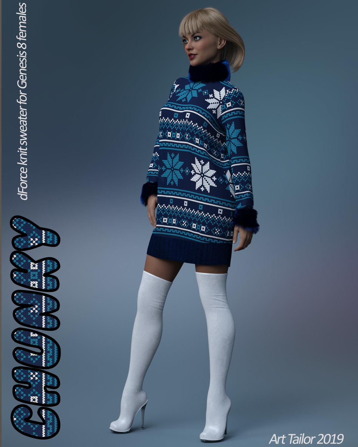 Chunky Sweater for the Genesis 8 Females by ArtTailor