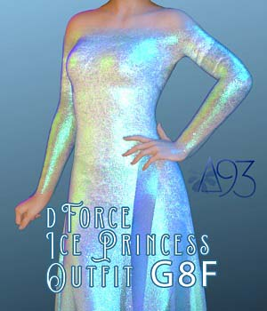 a93 - Ice Princess Outfit for G8F 3D Figure Assets anjeli93