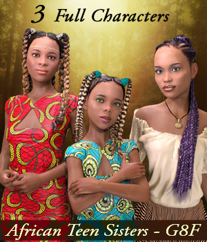 African Teen Sisters for G8F 3D Figure Assets Mar3D
