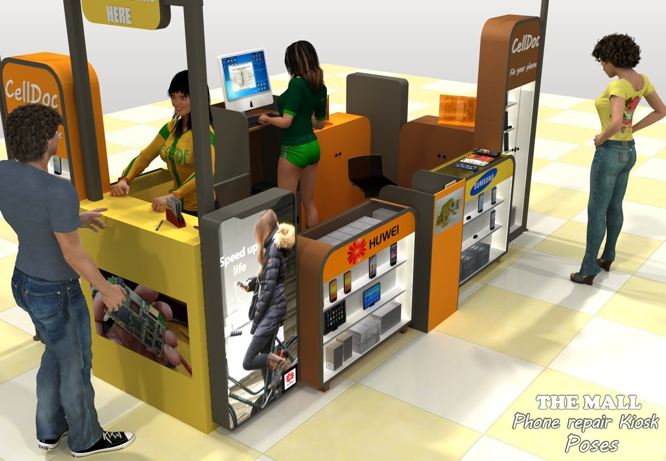 The Mall Phone repair Kiosk poses - Extended License by greenpots