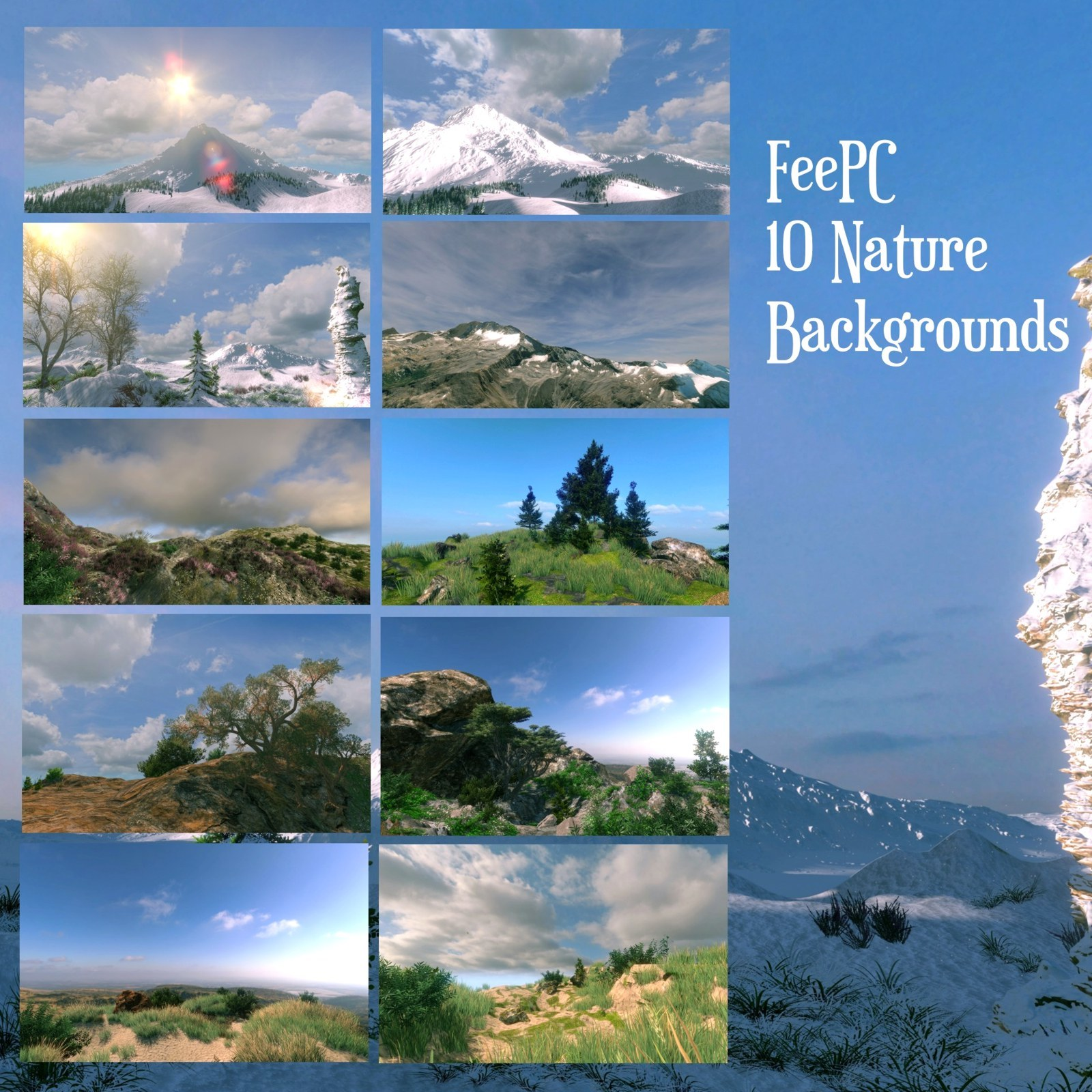 10 Scenic Landscapes Backgrounds by FeePC