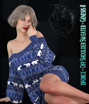 dforce - Off Shoulder Sweater - Genesis 8 3D Figure Assets kaleya