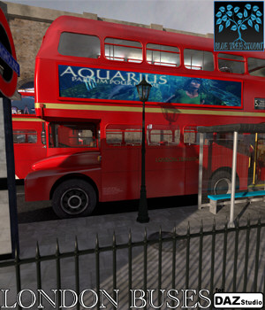 London Buses for DAZ|Studio 3D Models BlueTreeStudio