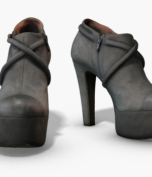 Female Leather Short Boots - Photoscanned PBR - Extended License 3D Figure Assets Extended Licenses TunnelVision