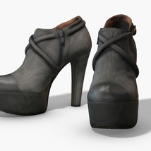 Female Leather Short Boots - Photoscanned PBR - Extended License image 2