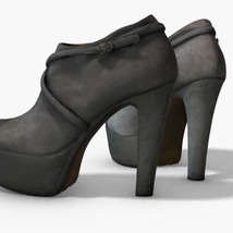 Female Leather Short Boots - Photoscanned PBR - Extended License image 4