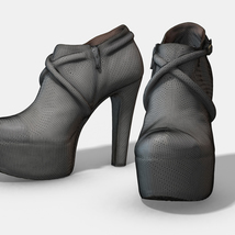 Female Leather Short Boots - Photoscanned PBR - Extended License image 10