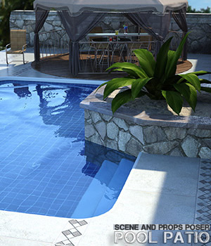 Pool Patio for Poser 3D Models lilflame