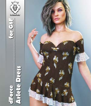 JMR dForce Arlete Dress for G8F 3D Figure Assets JaMaRe