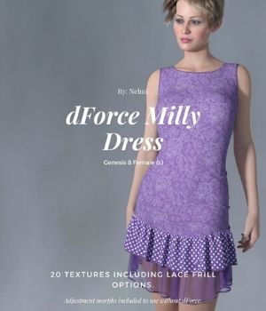 Nelmi - dForce Milly Dress G8F 3D Figure Assets nelmi