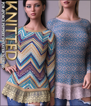 Knitted for dForce Peppery Sweater 'N Dress G8F 3D Figure Assets Sveva