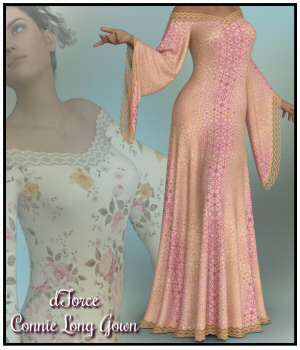 dForce - Connie Long Gown 3D Figure Assets Lully