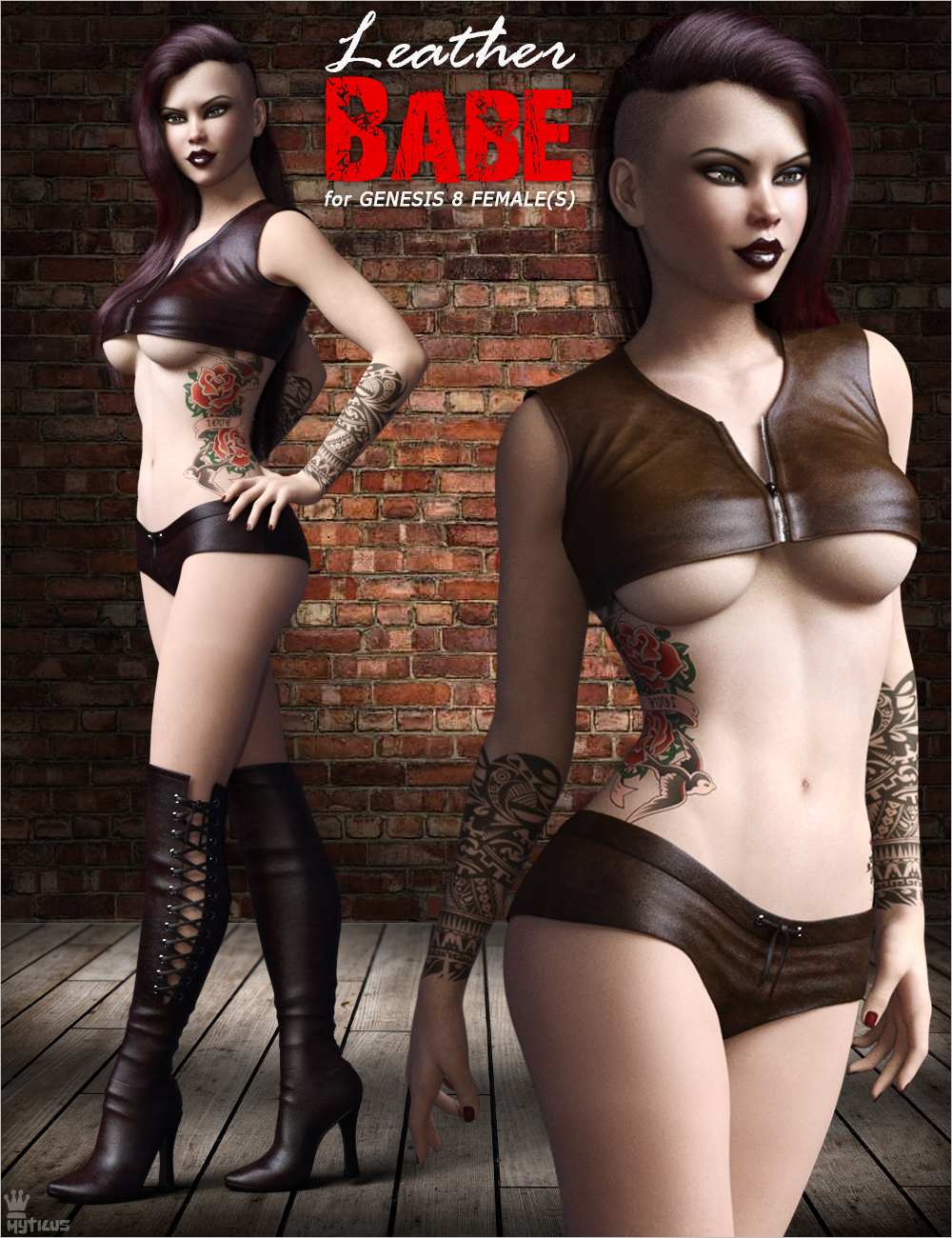 Leather Babe Outfit Set for Genesis 8 Females by mytilus