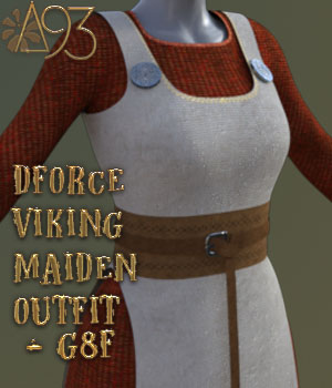 a93 - dForce Viking Maiden Outfit G8F 3D Figure Assets anjeli93