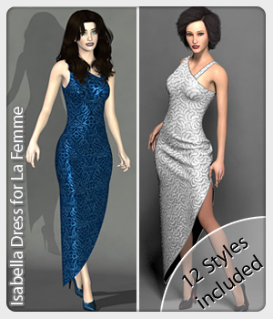 Isabella Dress for La Femme 3D Figure Assets La Femme Pro - Female Poser Figure karanta