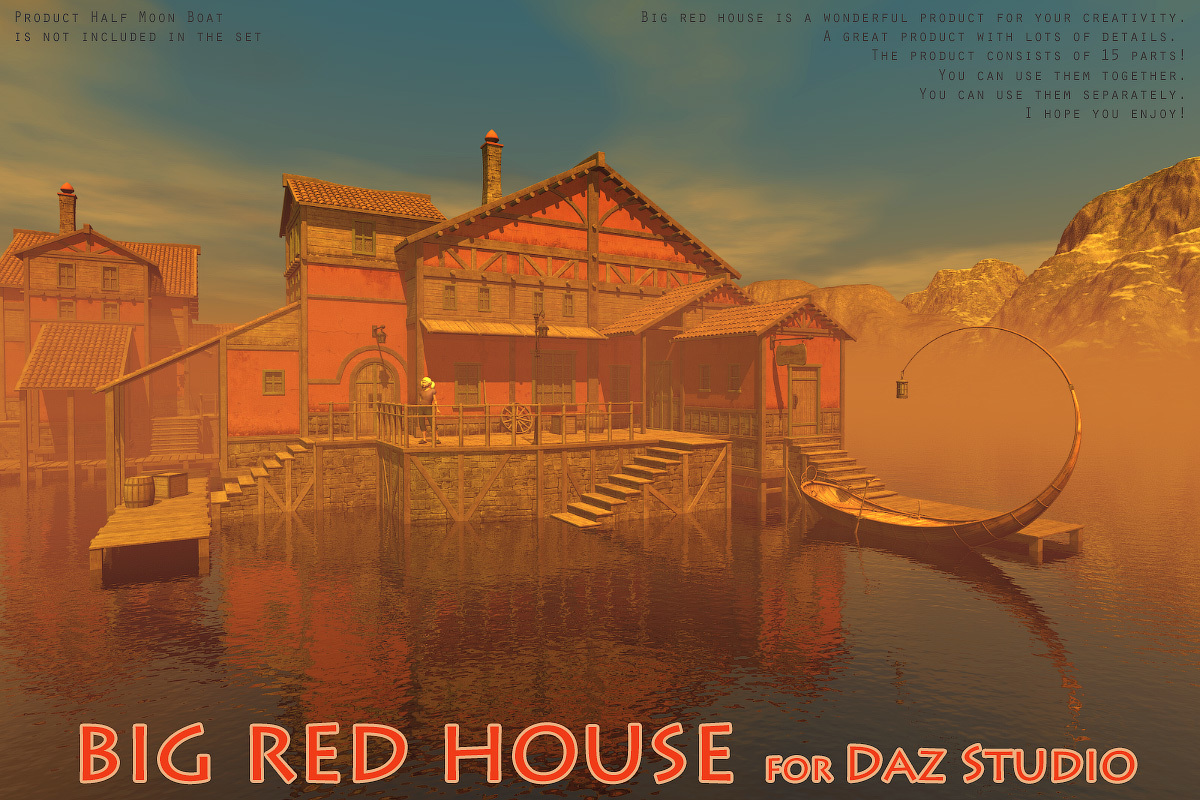 Big red house for Daz Studio by 1971s