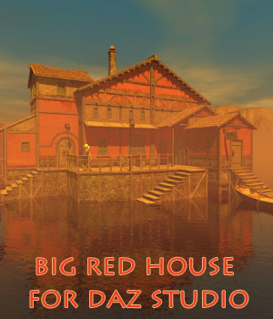Big red house for Daz Studio 3D Models 1971s
