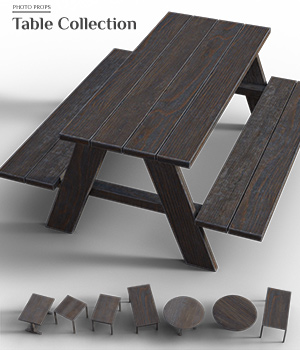 Photo Props: Table Collection - Extended License 3D Models Extended Licenses ShaaraMuse3D