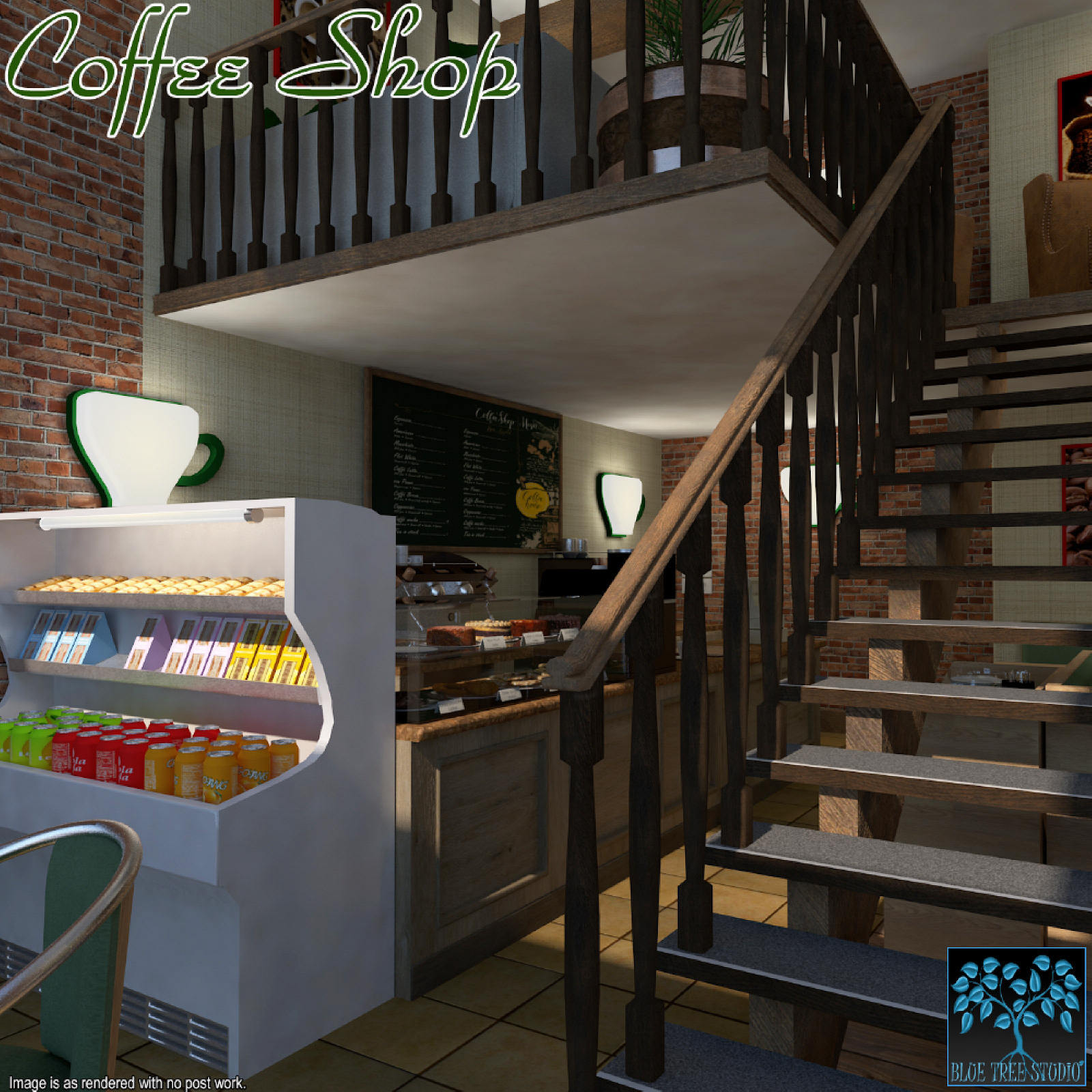 Coffee Shop for Poser by BlueTreeStudio