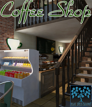 Coffee Shop for Poser 3D Models BlueTreeStudio