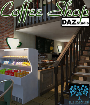 Coffee Shop for DAZ 3D Models BlueTreeStudio